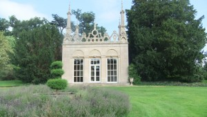 The Gothic Temple at Burghley - hardly Gothic, not exactly classical, but with a fine entrance at the back
